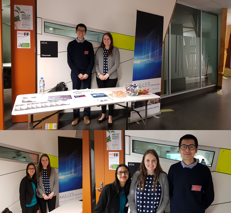 Muller Partnership's own Alex, Laini and Nirvana at the RMIT Student Careers Day outreach event in Melbourne.