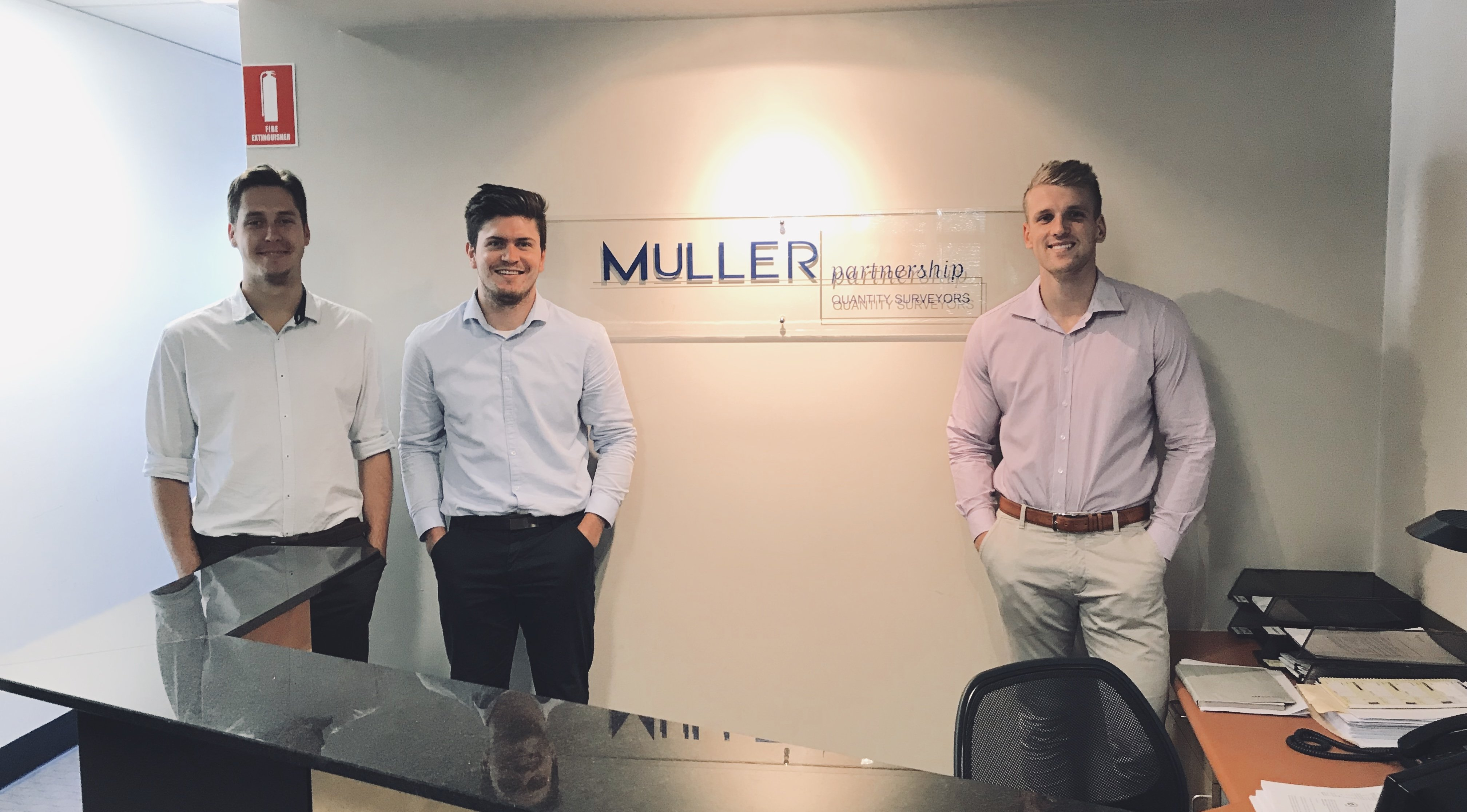 Muller Partnership are excited to welcome our new cadets Joseph, Nicholas and Brad in 2019 to the Newcastle office.  Muller Partnership prides ourselves on training undergraduate cadet employees. The cadetship program is well established, with all existing employees providing a close network of shared knowledge and meaningful industry experience to progress the cadets into a future QS career.