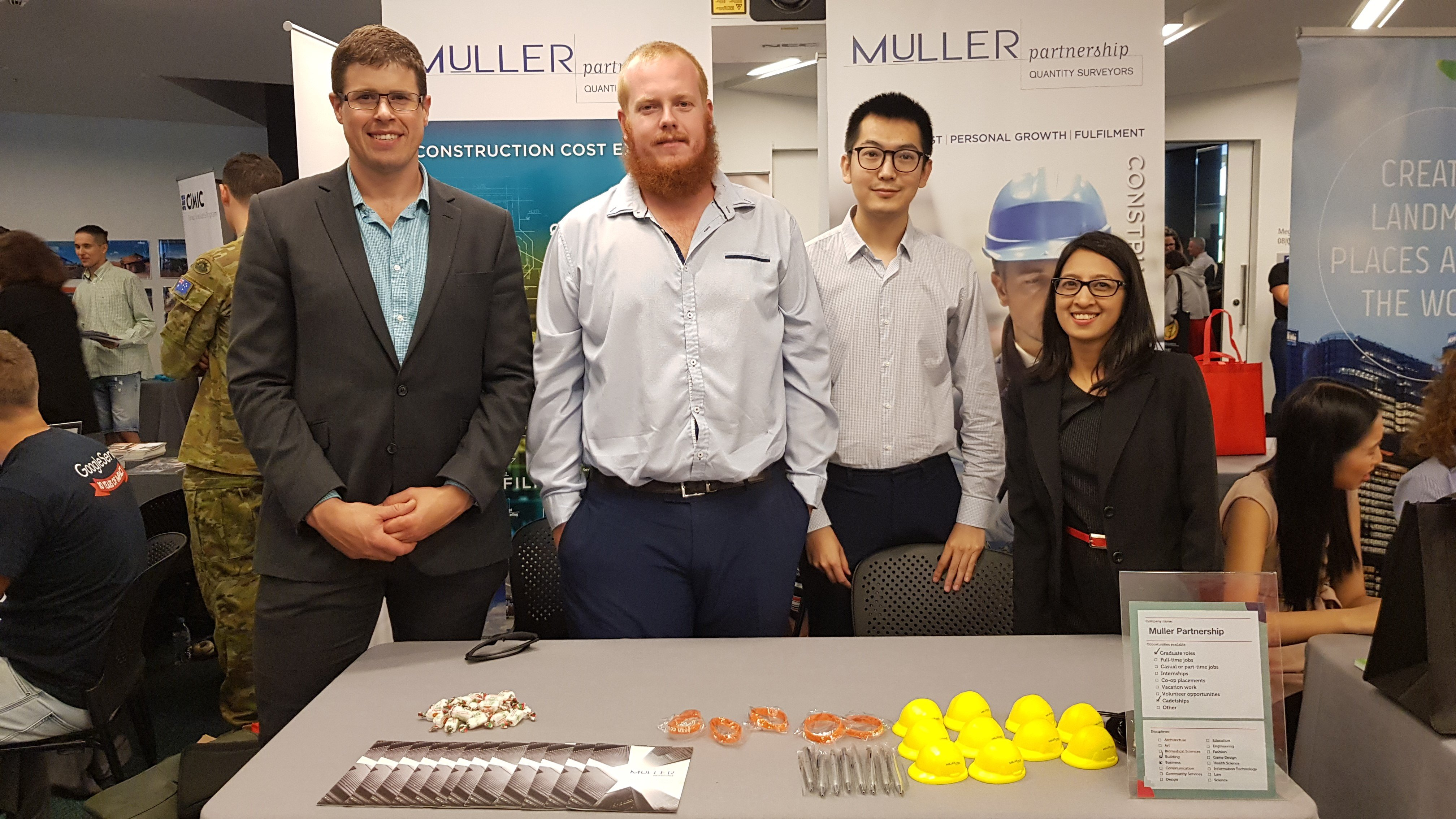 Muller Partnership's Melbourne staff: Cyrrus, Luke, Alex and Nirvana attended the first RMIT Indigenous Career Fair in collaboration with Ngarara Willim Centre to support Aboriginal and Torres Strait Islander people.  Muller Partnership joined a number of other companies at the fair to communicate and provide career opportunities to talented indigenous students. Muller Partnership is excited to be working to support a diverse workforce and make a positive impact across our industry.